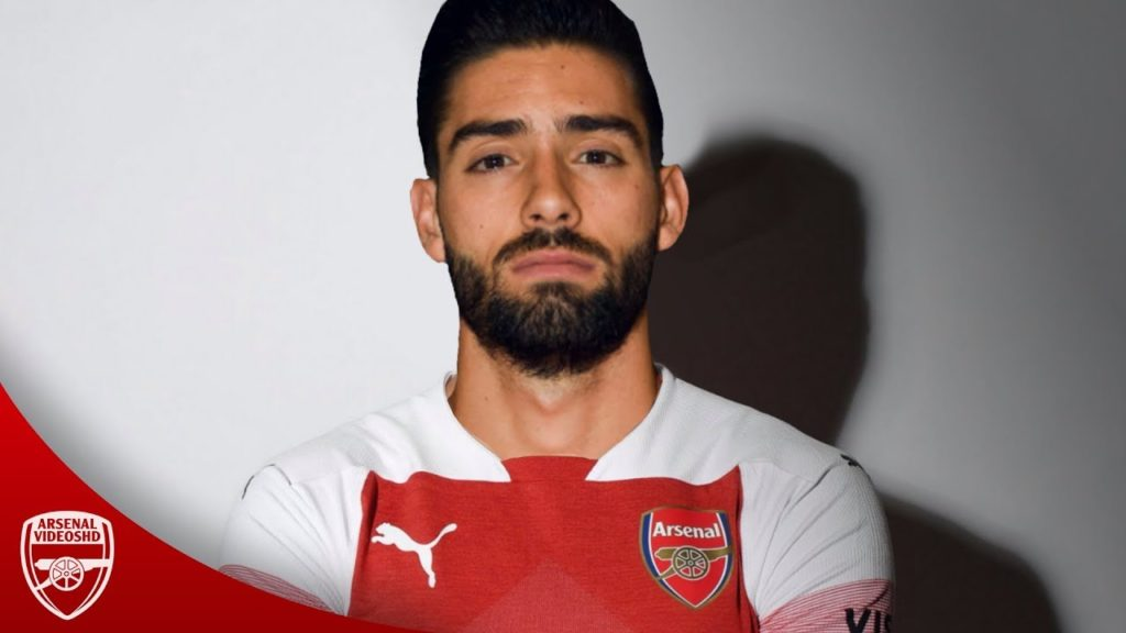 Yannick Carrasco in an Arsenal shirt